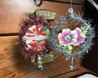 Vintage Inspired Tinsel and Old Paper Ornaments (2)