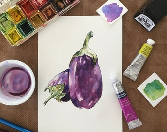 Valentines gift for teacher, Original watercolor eggplant painting, watercolor illustration, Watercolor brinjal painting, Watercolor veggie