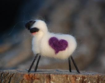 Felted Sheep Love Ewe Love You Sweetheart Purple Heart