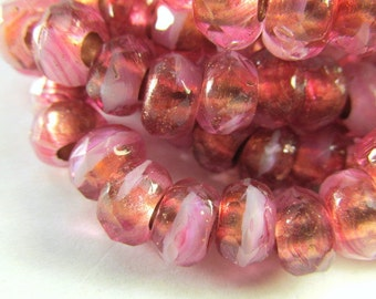 10 Fuchsia Pink Coral Czech Glass Large Hole Jewelry Beads 9mm x 6mm Faceted Rondelles with 3mm holes