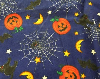 Halloween Fabric from VIP Cranston - on Blue background - by the 1/2 yd