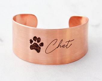 Actual Paw Print Bracelet - Pet Memorial Bracelet, Pet Jewelry, Paw Print Jewelry, Engraved Paw Print, Custom Cuff, Personalized - Thick