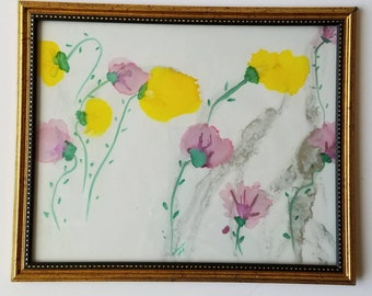 "Original hand painted alcohol ink modern abstract floral decorative on 8x10"" vellum paper in frame. ""Spring"""