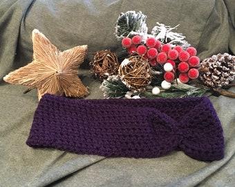 Crocheted Purple Headband / Earwarmer