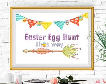 Easter egg hunt sign Watercolor Easter Printable Easter print Easter party Easter decor Easter wall art DOWNLOAD 5X7 8X10 11X14 16X20