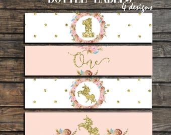 Unicorn Water Bottle Labels - Unicorn Party Water Bottle Wrappers - Unicorn birthday decorations - first birthday girl blush pink and gold