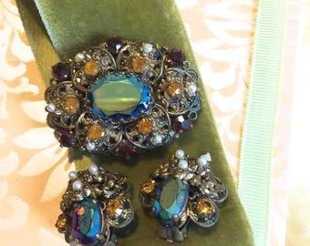 Vintage Aurora Borealis West Germany Set Brooch and Earrings Incredible Colors