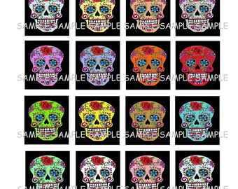 INSTANT DOWNLOAD...Colorful Sugar Skulls... Images Collage Sheet for Scrabble Tile Pendants ...Buy 3 get 1