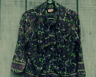 Romantic Goth 1970s Lady Carol Of New York Tie Neck Blouse With Covered Buttons and William Morris Type Foliage Pattern