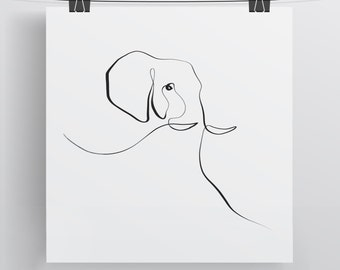 Elephant Print - Calligraphy Art - Single Line Drawing - Limited Edition Wall Art