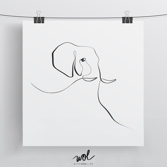 Drawing Lines For Calligraphy : Elephant print calligraphy art single line drawing