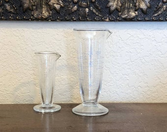 Vintage Graduated Cylinders for Laboratory, Conical Pharmaceutical Cylinder, Pouring Laboratory Glass