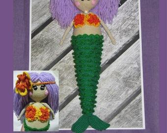 Crochet Mermaid Doll waldorf doll handmade rag doll mermaid toy stuffed mermaid toy beach theme nursery nautical theme mermaids dolls purple