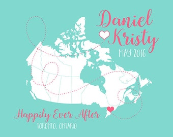 Toronto Ontario, Canada Map, Personalized Engagement Gift, Canadian Wedding, Gift for Bride, Manitoba, British Columbia, Nova Scotia