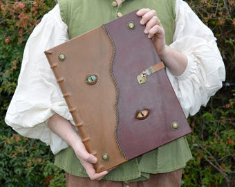 Very Large Leather Grimoire with Lock and Monster Eyes