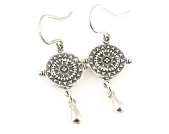 Silver Mandala Earrings, Organic Silver Earrings, Cute Silver Earrings, Geometric Silver Drop Earrings, Everyday Silver Earrings, Cute Drops