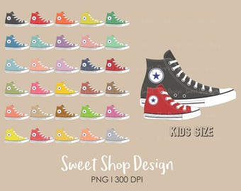 Shoes Clip Art, Sneakers Clip Art, Athletic Shoes, Royalty Free Clip Art, Kids Size, Planner Stickers, Instant Download