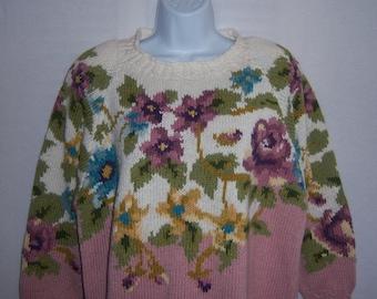 Vintage Jennifer Reed Hand Knit Mauve Pink Light Blue Purple Violets Floral Flower Cotton Sweater Medium M