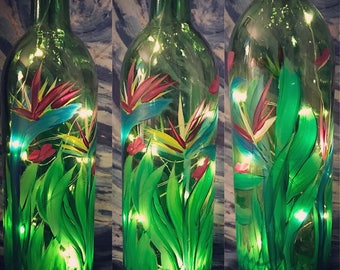 Birds of paradise #2: Hand Painted Wine Bottle Night Light