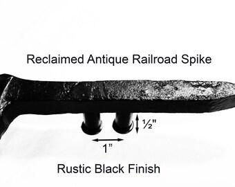 "1"" Left Black Railroad Spike Cupboard Handle Dresser Drawer Pull Cabinet Knob Antique Vintage Old Rustic Re-purposed House Restoration"