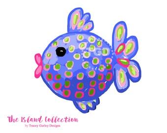 Preppy Fish clip art, Preppy polka dot fish clip art - Original Art download, whimsical fish, preppy clip art
