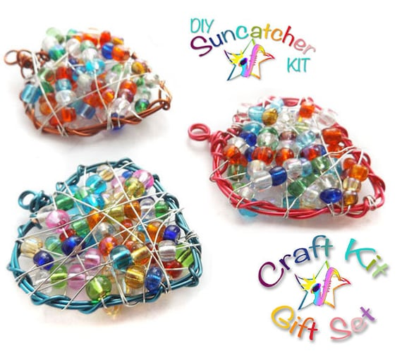 DIY Craft Kit, Set of 3 DIY Wire Wrapped Hearts, DIY Beaded ...