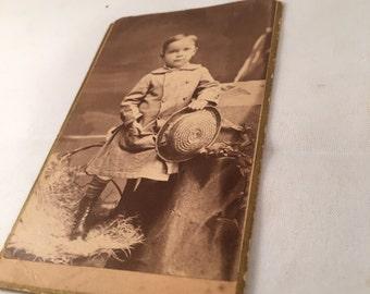 Antique Photo - Portrait Little Boy with Hat