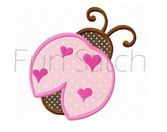 Love ladybug applique machine embroidery design