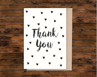 A5 thank you card, A5 greeting card, illustrated card, blank card, card and envelope