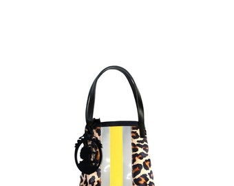 GEGE VIEW LEO PVC trim leopard leather mini tote