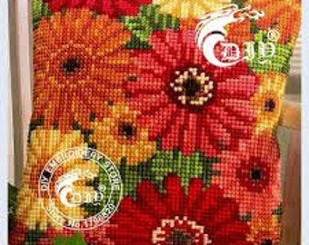 Unfinished Crewel Yarn Embroidery Pillow Case Cross Stitch Pillowcase Flowers