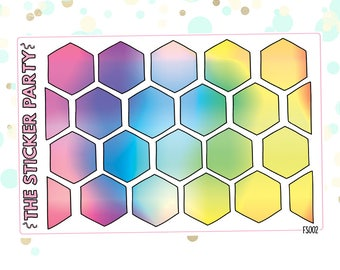 Hexagons Rainbow Hexagon Planner Stickers