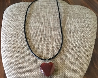 Fire Agate Heart Necklace