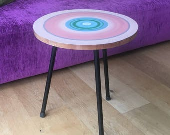 Coffee table with painted wood slice