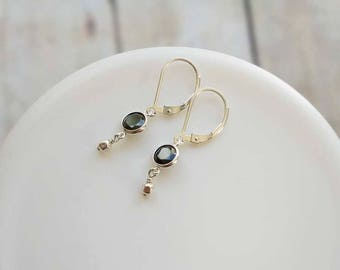 Black Earrings Sterling Silver Dangle Drop Earrings Everyday Jewelry Simple Dainty Minimal Lightweight Leverback Lever Small Earrings