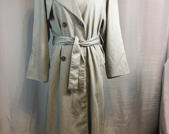 Ladies Gray/Green Trench Coat, Double Breasted Rain Coat with Tie Belt by London Fog, Ladies Size 10 Petite Previously 30 Dollars ON SALE