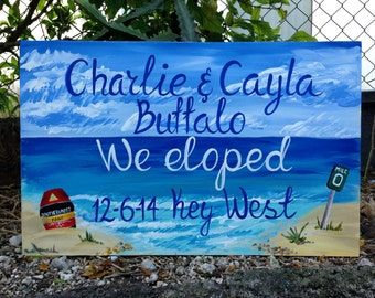 Beach Wedding Sign, Wood Guest Book Alternative, We Eloped Sign, Beach Wedding Decor Key West Beach Wedding