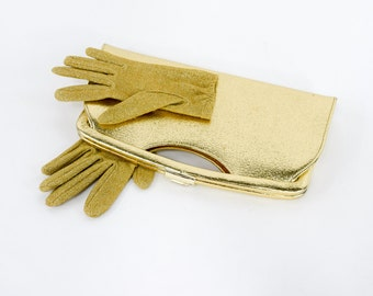 60s Gold Clutch & Gloves | Metallic Long Evening Bag and Knit Gloves