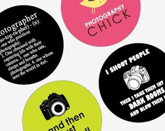 Phunky Photo and Photographer - Large Round Images - 2.25 Inch (57mm) -Great for Pocket Mirrors,Coasters,Buttons,Magnets -Instant Download