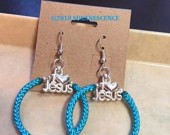 Woven Teal Hoop Earrings,I love Jesus Hoop Earrings,Stylish Teal Woven Hoop Earrings,Hoop Earrings,Unique Hoop Earrings,Jesus,Birthday Gifts