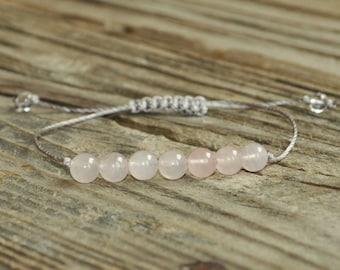 Rose Quartz Yoga Bracelet, Heart Chakra, Fifth Chakra, Gemstone Therapy, Meditation Bracelet, Wish Bracelet, Reiki, love