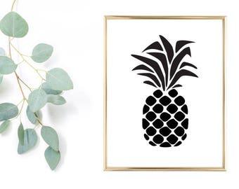 Pineapple Print Wall Art 8x10