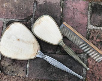 Vintage Vanity Set Silver Plated Brush, Mirror, Comb