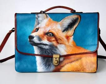 Vintage leather bag, hand-painted with a stunning fox
