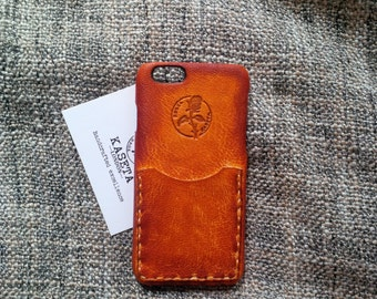 iPhone 8 Leather Case, Wallet Card Case, iPhone 7 leather, iPhone 6s, iPhone 6, Card Holder, 'Old Tan'
