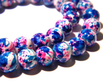 shiny lacquered glass 30 beads - 6 mm - turquoise and fuchsia F123 8