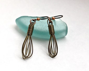 Copper Wire Wrap Whisk Earrings - Cooking and Baking Jewelry - Gifts for Cook Baker or Chef  Homechef