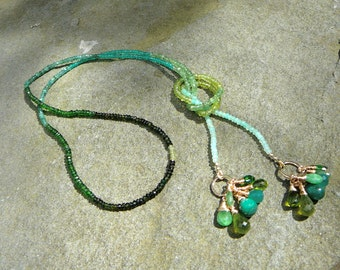 Emerald Necklace,Lariat Necklace,Lariat Gemstone Necklace,Green Gemstone Necklace,Green Necklace,Briolette Necklace,Peridot Garnet Emerald