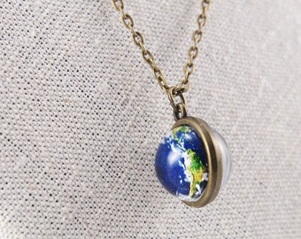 Two sided Earth necklace Globe pendants Space Planet jewelry Solar System Tiny Necklace Blue Earth Pendant Space Necklace gift for her