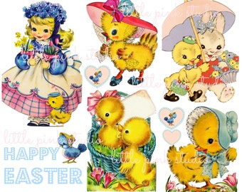 Sweet Easter Chicks,  Printable Collage Sheet (digital download, printable)